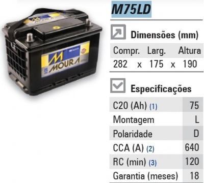 Bateria Moura 75ah caixa alta